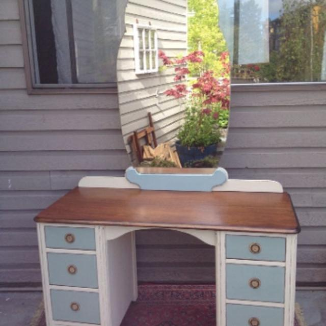 Antique Vanity/Desk, top is refinished and stained a rich walnut, painted w - Find More Antique Vanity/desk, Top Is Refinished And Stained A Rich