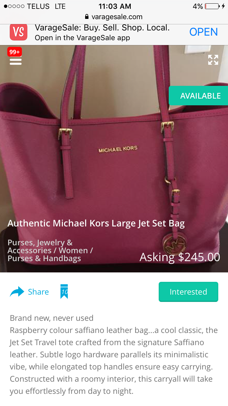 Find More Michael Kors Large Jet Set Tote For Sale At Up To 90 Off Jetset Travel Lugagge Authentic