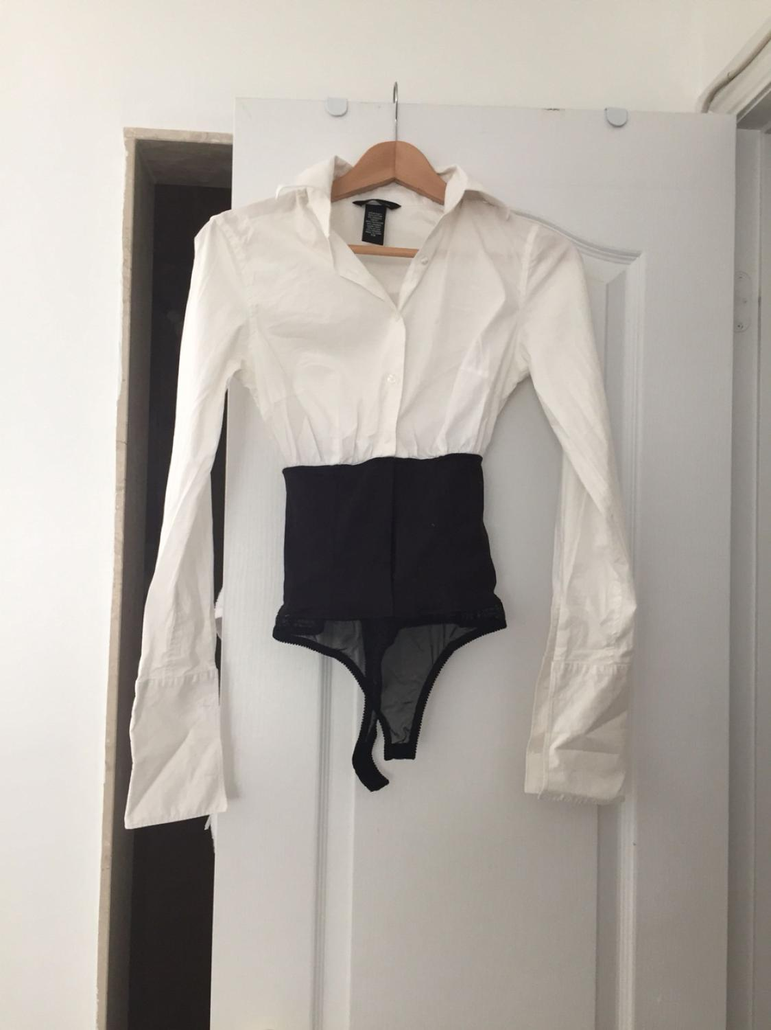 Find More Sexy Victoria Secret Moda White Dress Shirt Bodysuit Xs