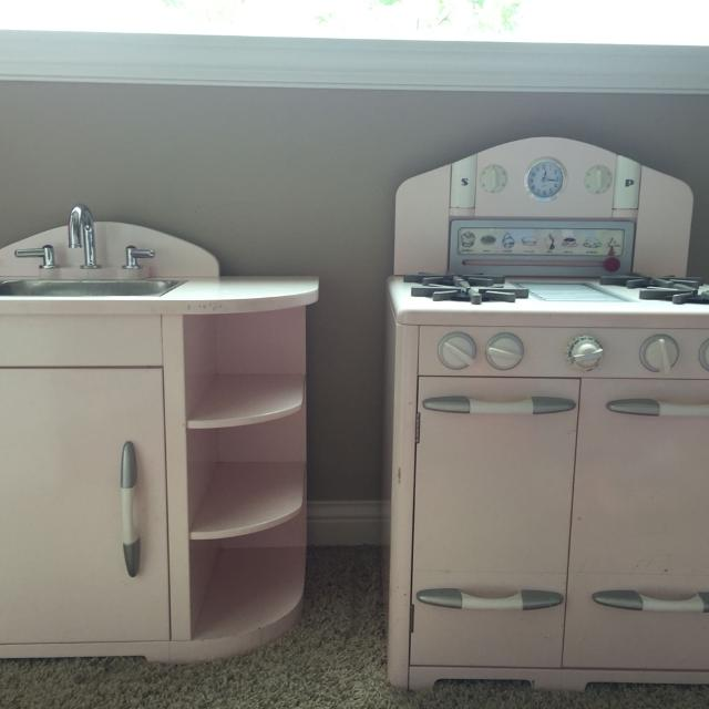 Pottery Barn Kids pink retro kitchen set. Great used condition, some  dings/scratches. Would like picked up asap as we\'re moving