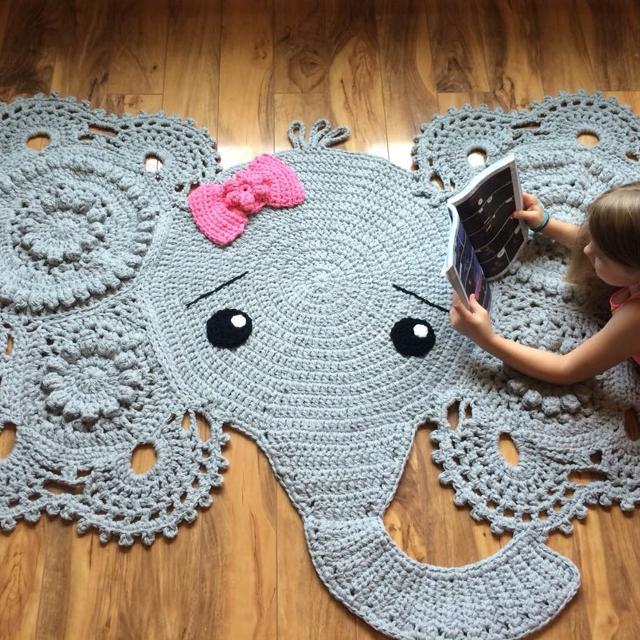 Josefina and Jeffery Elephant Rug PDF Crochet Pattern | Tapete de ... | 640x640