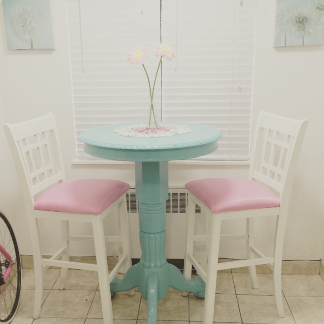 Pink Turquoise Shabby Chic Bar Table Chairs Stools