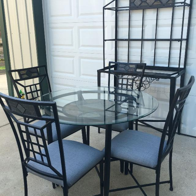 Glass Dining Table Set With Matching Bakers Rack