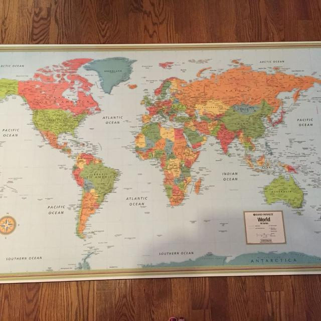 Best World Map Euc Mounted From Costco For Sale In Ottawa - World map for sale