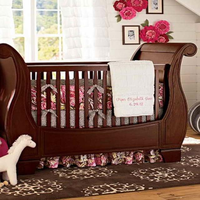 Best Pottery Barn Larkin Fixed Gate Sleigh Crib For Sale
