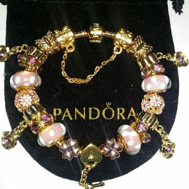 10e7a3bdb6400 Pandora rose gold bracelet with rose gold charms set