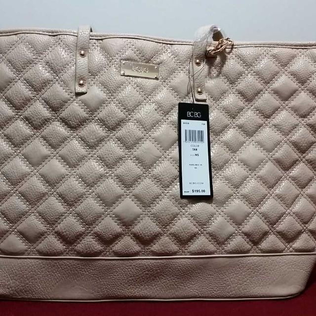 New With Tag Bcbg Paris Quilted Tote Bag Purse In Tan Cream Ideal For Travel
