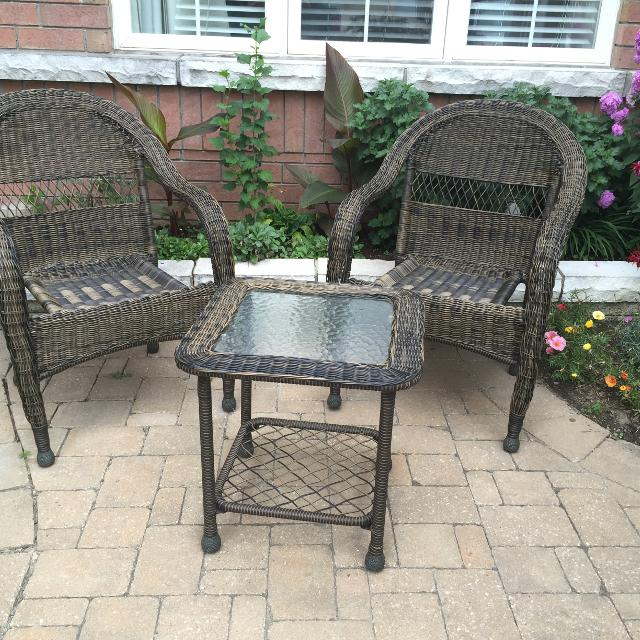 Severson Woven patio chairs with wicker glass-top side table - Find More Severson Woven Patio Chairs With Wicker Glass-top Side