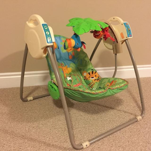 Fisher Price Rainforest Open Top Take Along Swing Redesign With Batteries