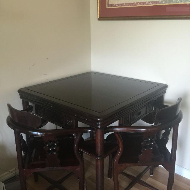 Asian MahJong Card Game Table And 4 Chairs