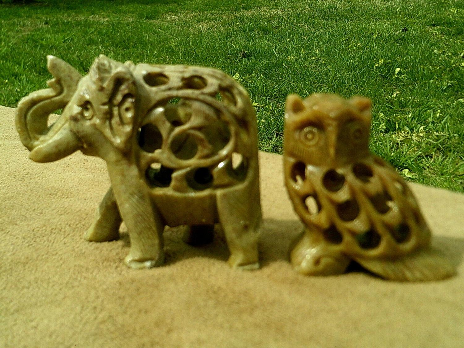 Hand Carved Stone - Elephant & Owl with baby Inside