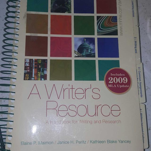 A Writers Resource Writing Book Used For English Class My Last Semester