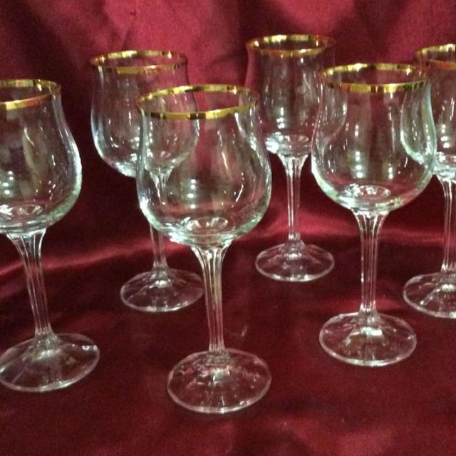 Set Of Six 6 Vintage Bohemia Crystal Geneve Wine Gles Or Goblets