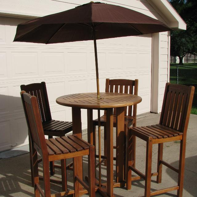 Find More Teaknauteak Maritime Heritage Round Bar Table And - Teak table and 4 chairs