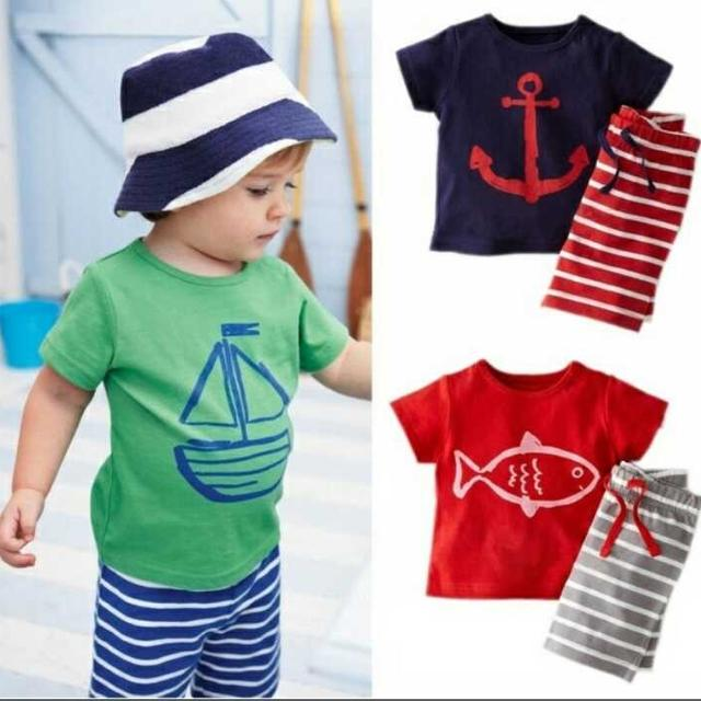 3c536384b Best Casual Baby Toddler Kids Boys 2pcs Suit Tops T-shirt Pants Summer  Print Children Clothing Set Age 0~5y for sale