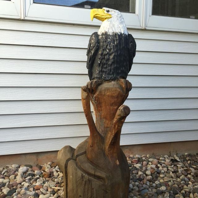 Price Reduced Bald Eagle Carved Wood Statue 44 Inches Tall More Pics In Comments