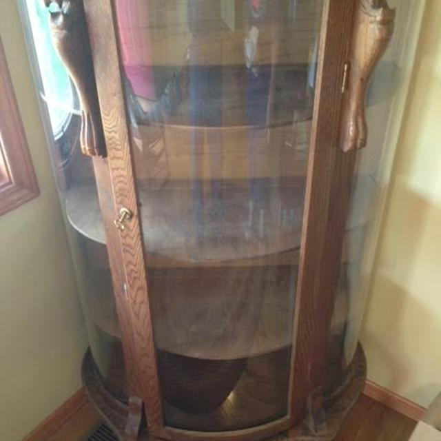 Best Antique Curved Gl Curio Cabinet