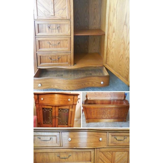 Best Thomasville Pulaski Solid Golden Oak Bedroom Set For Sale In