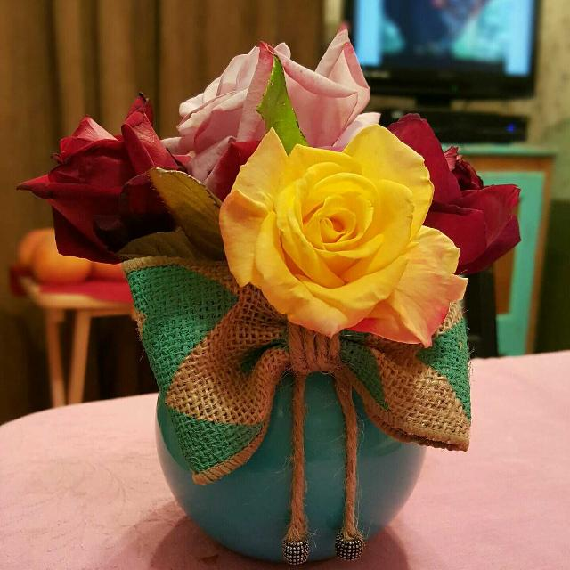 Best Beautiful Hand Painted Flower Vase With Burlap Bow Cute Decor