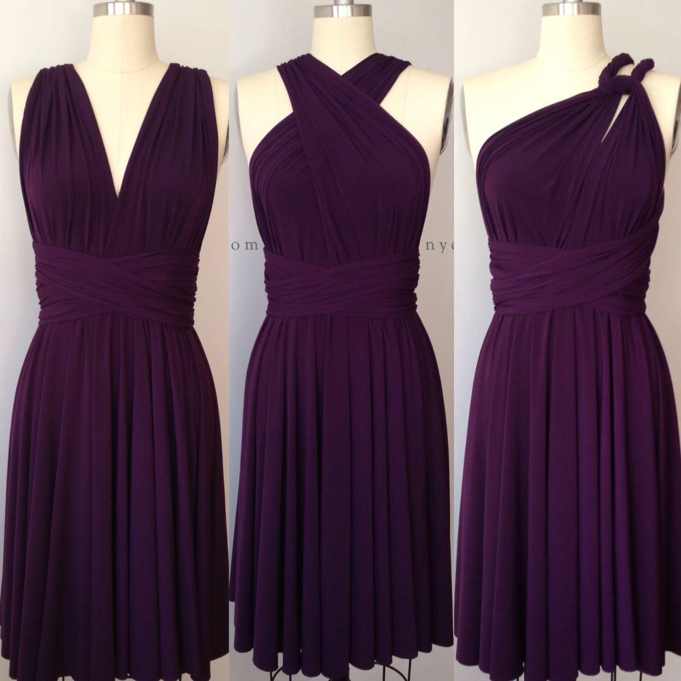 Best Dark Purple Grape Eggplant Short Infinity Dress Convertible ...