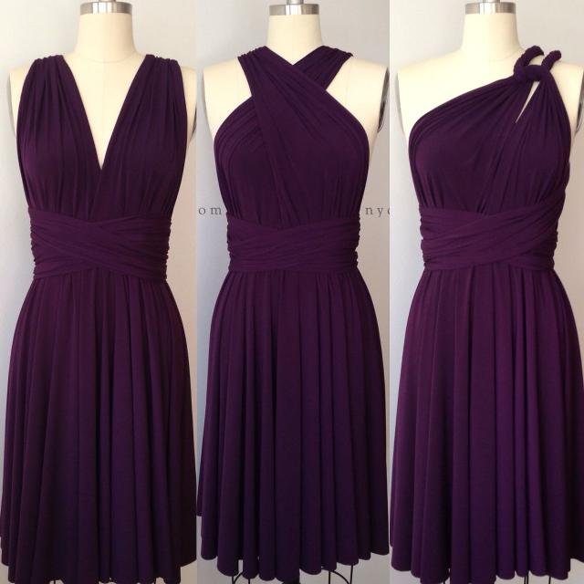be917aad690 Best Dark Purple Grape Eggplant Short Infinity Dress Convertible Formal Multiway  Wrap Bridesmaid Dress Cocktail Evening Wedding for sale in Calgary