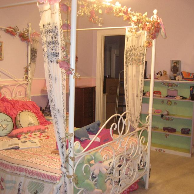 Kids Full Size White Metal Canopy Bed