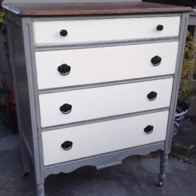 1930 S Wood Dresser Top Refinished And Stained Rich Walnut Painted Grey Off White