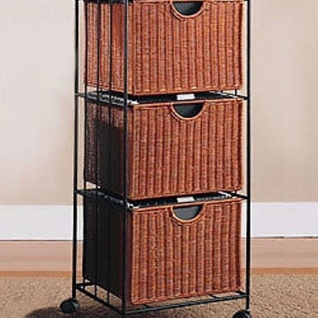3 Drawer Wicker Filing Cabinet Storage