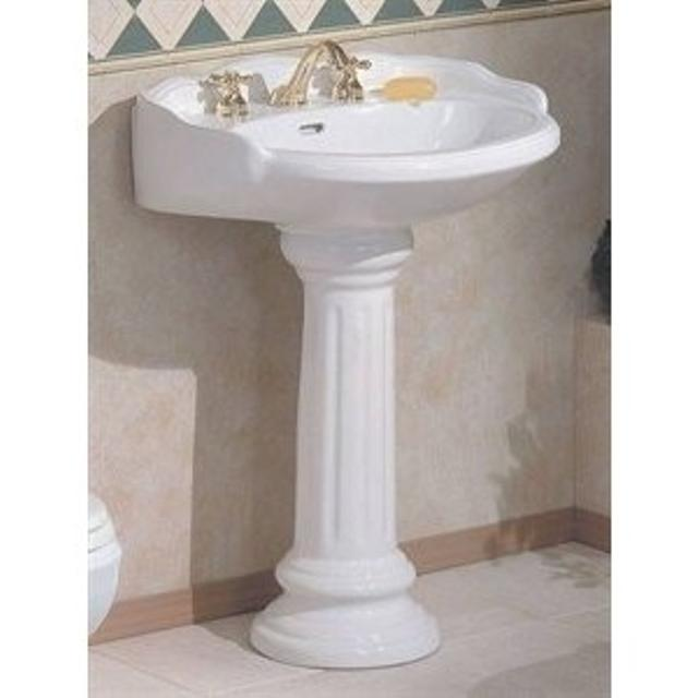 Victorian White Pedestal Sink W Brushed Nickel Faucet