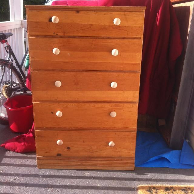 Light Brown Blonde Unfinished Pine Chest Of Drawers