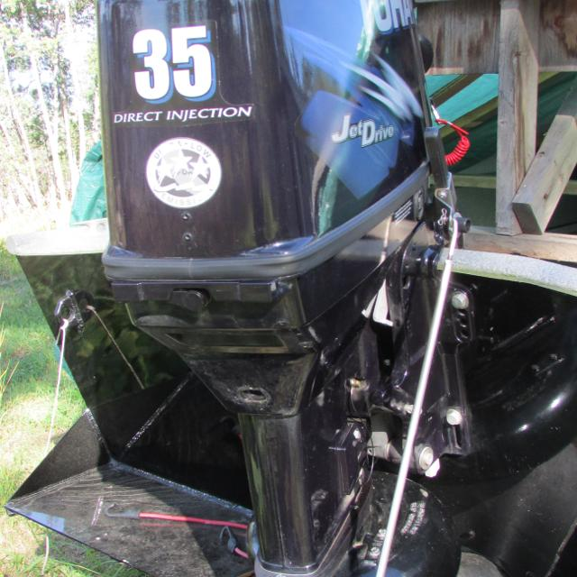 50/30 TOHATSU outboard with jet & tiller handle