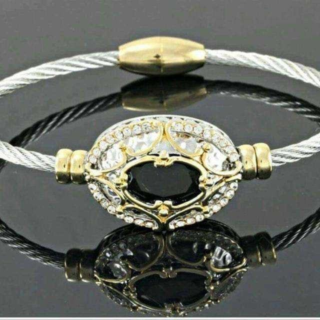 bangle layered polish best spinel lead jewellery bracelet nwt magnetic i with free end high cable jewelry black gold clasp