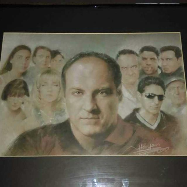 THE SOPRANOS CAST PRINT, TONY SOPRANO, JAMES GANDOLFINI BY WANG HAIYAN     16x20  $20