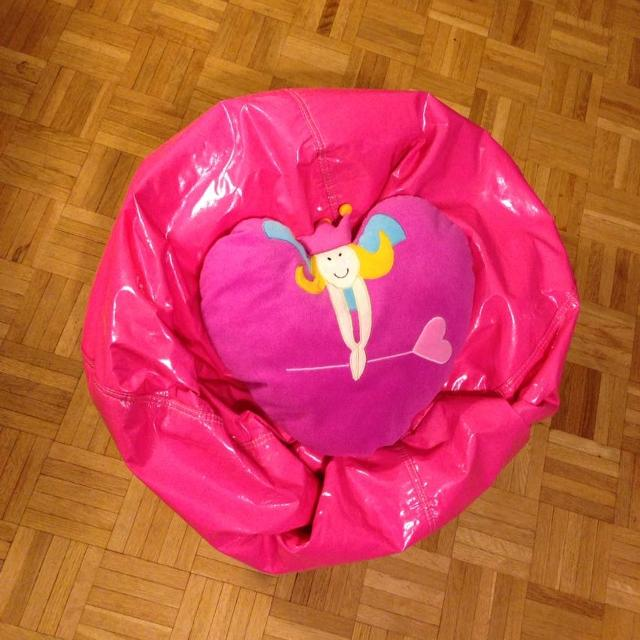 Hot Pink Child Size Bean Bag Chair And Heart Shape Princess Pillow 10 For Both