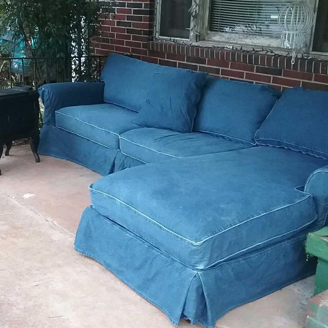 Custom made blue jean material couch , 2 piece sectional