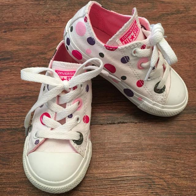 8f10578421ecd1 Find more Vguc Pink purple Polka Dot Converse All Stars. Size 7. for ...