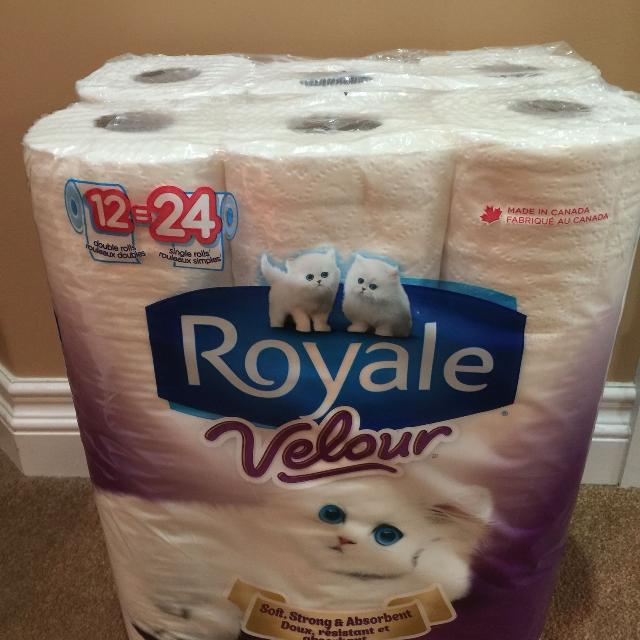 Two 2 Packages Of Royale Velour Toilet Paper 12 Double Rolls Soft