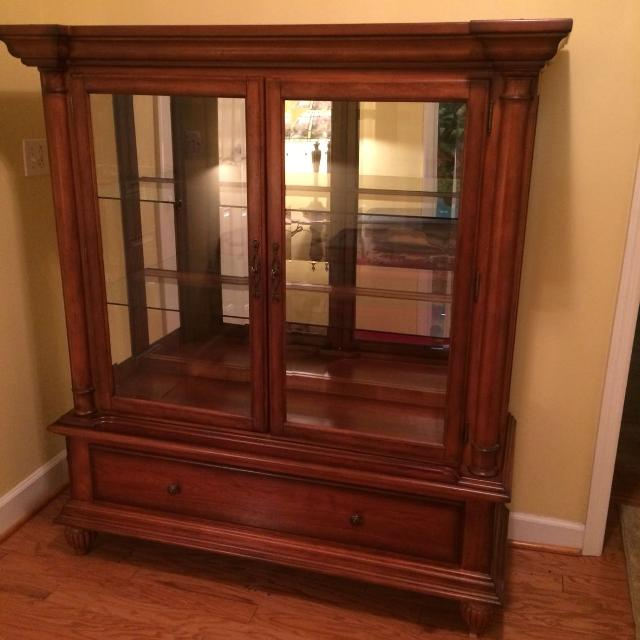 2 Piece Solid Wood Curio Cabinet Measures 60 1 High X 54