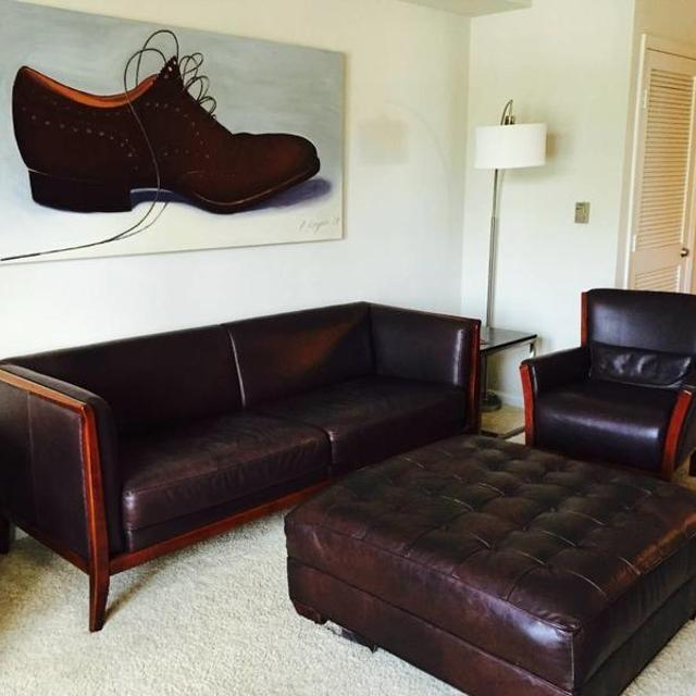 Rare Maurice Villency Modern Brown Leather Armchairs 3 Chairs