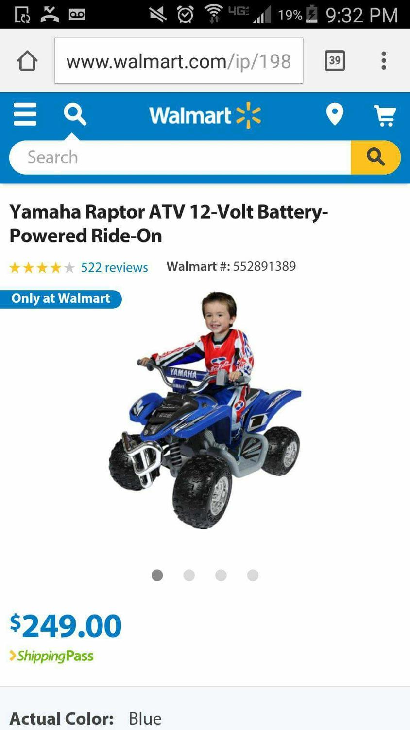 **REDUCED TO $50** YAMAHA RAPTOR ATV 12-VOLT BATTERY POWERED RIDE-ON (UP TO  130 LBS)