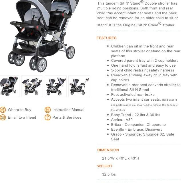Find More Sit N Stand Baby Trend Deluxe Tandem Double Stroller For