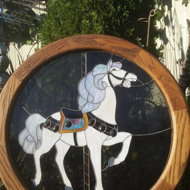 Find more Vintage 3 Feet Framed Stained Glass Carousel Horse Sun ...