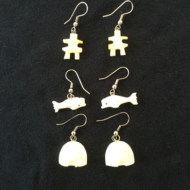 All 3 sets of genuine Narwhal ivory Inuit earings