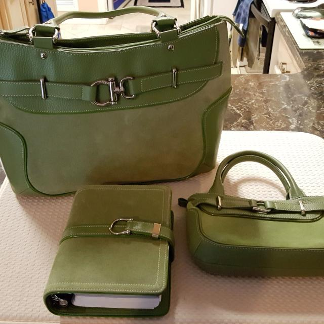 Franklin Covey Suede Leather 3 Piece Tote Bag Set 100 Firm