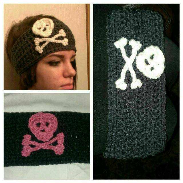 Best Crocheted Skull And Crossbones Headband Earwarmer For Sale In