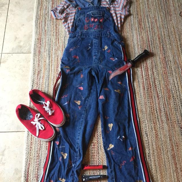 08e0e265 Best Chucky Halloween Costume Girls Teen Ladies Knife Shoes Overalls Shirt  Top Paint Face Wanna Play Child's Play for sale in Deland, Florida for 2019