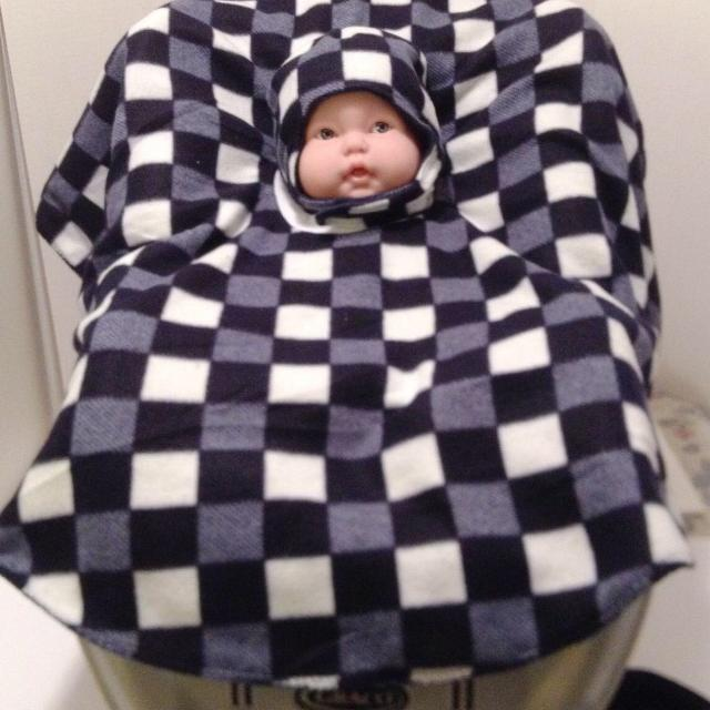 Reversible Car Seat Poncho With REVERSIBLE Matching Hat Chin Strap