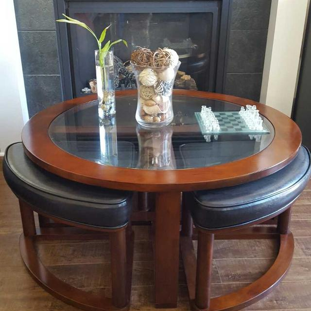 Sierra Coffee Table With Four Ottoman Wedge Stools