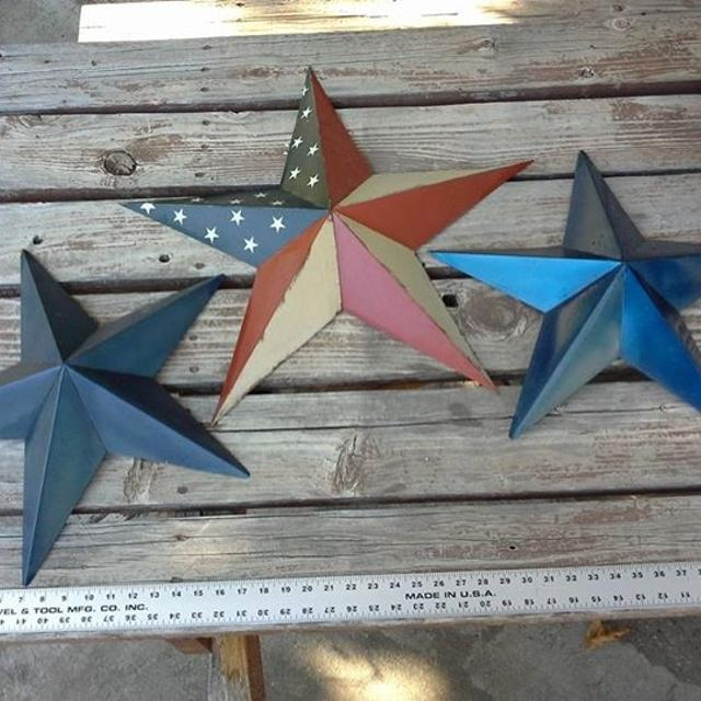 Rustic Country Stars American Flag Metal Indoor Outdoor House Decor