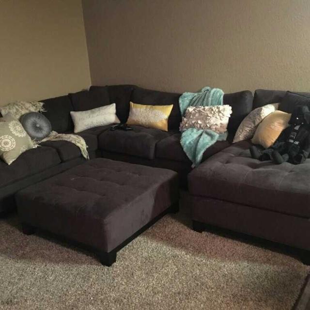Cindy Crawford Metropolis 3 Piece Sectional Sofa Slate With Ottoman